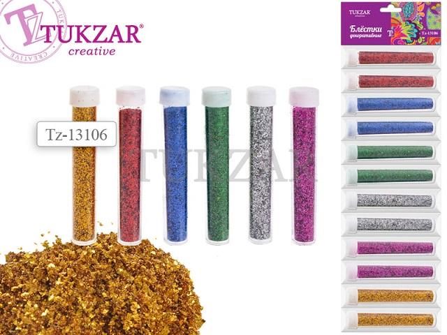 Набор для творчества Блестки, 6 цветов в ассортименте, в пластиковой тубе, Tukzar 13106