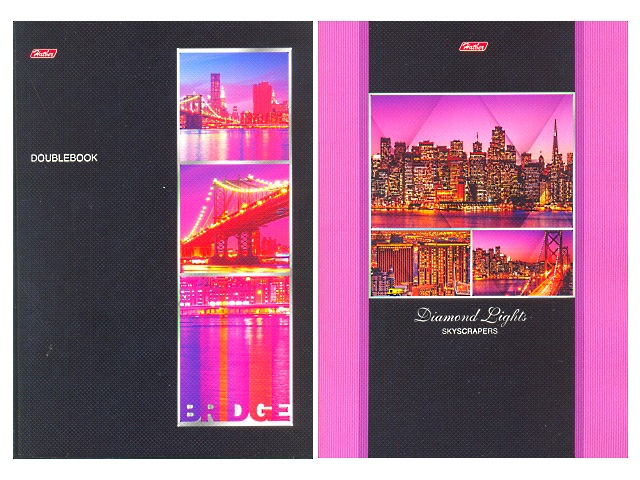 Книга канцелярская А4, 96 листов, мягкая обложка, Огни города, двухсторонняя, Hatber