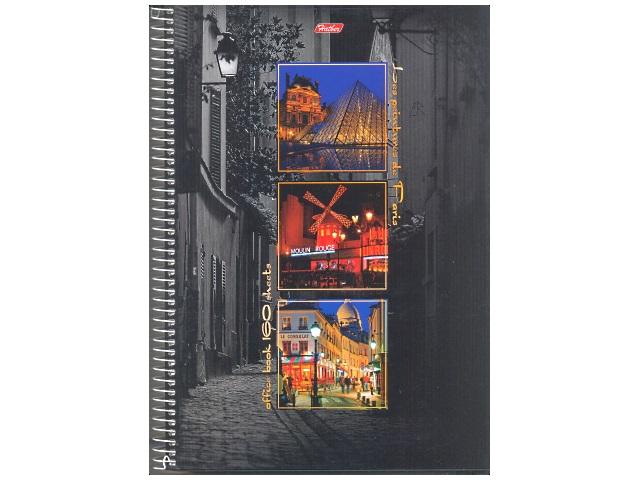 Книга канцелярская А4, 160 листов, спираль сбоку, твердая обложка, с перфорацией, Краски Парижа, Hatber