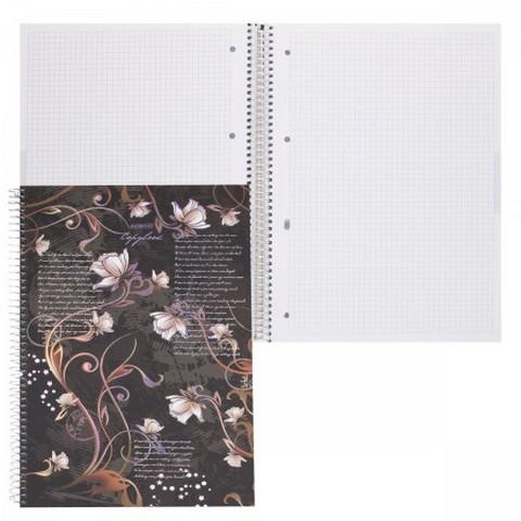 Книга канцелярская А4, 96 листов, спираль сбоку, твердая обложка, с перфорацией, Flowers, Hatber