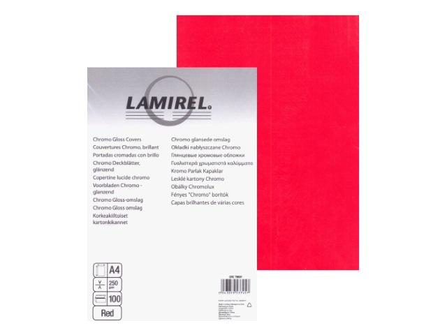 Обложки для брошюровки картонные, глянцевые, А4, 250 г, красные, 100 шт., Lamirel Chromolux