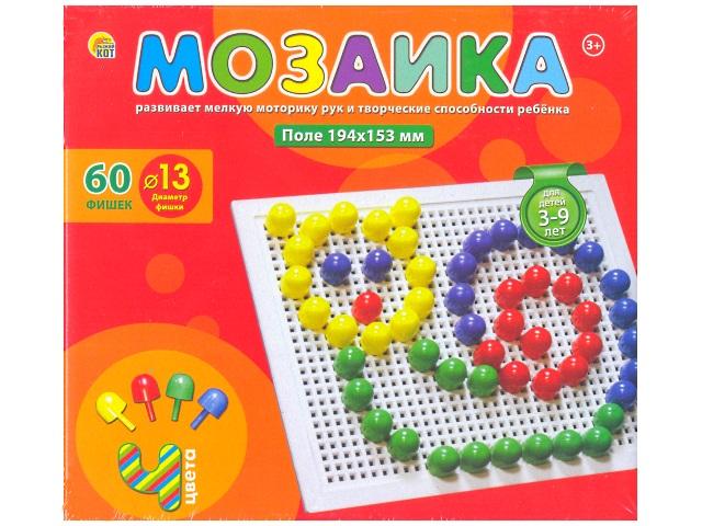 Мозаика пластиковая 60 деталей фишка d=13 мм, в коробке, Рыжий кот М-0102