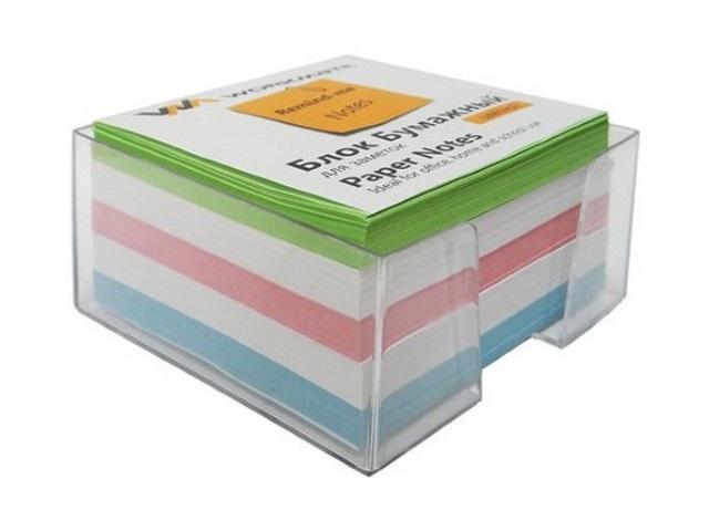 Бокс для бумаг, 9*9*5 см, пластиковый, прозрачный + бумага цветная, не склеенная, 500 листов, Workmate