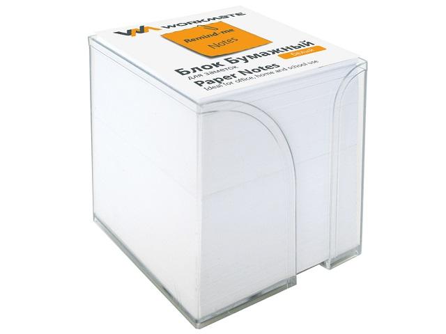 Бокс для бумаг, 9*9*9 см, пластиковый, прозрачный + бумага белая, не склеенная, 900 листов, Workmate