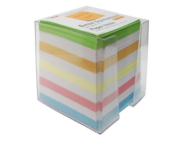 Бокс для бумаг, 9*9*9 см, пластиковый, прозрачный + бумага цветная, не склеенная, 900 листов, Workmate