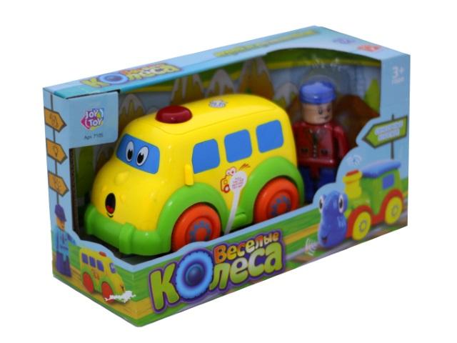 Развивающая игрушка, Паровоз, Веселые колеса, на батарейках, со звуком и светом, в коробке, Joy Toy