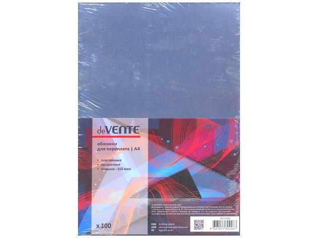 Обложки для брошюровки пластиковые, прозрачные, А4, 150 мкм, 100 шт., DeVente
