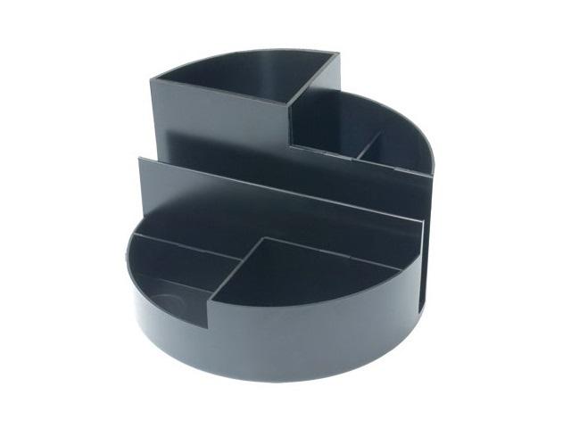 Подставка для ручек, 7 отделений, пластиковая, черная, круглая, Профи, Стамм