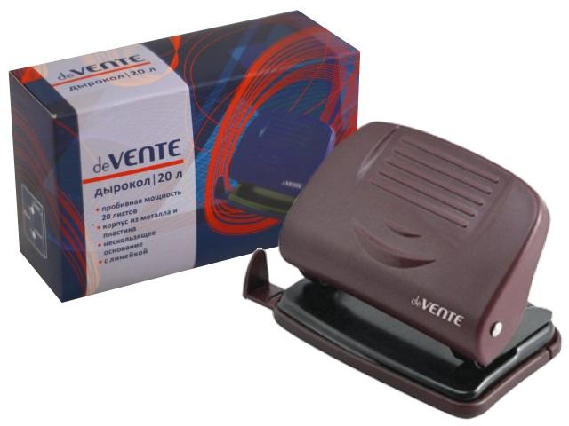 Дырокол на 20 листов пластиковый бордовый с линейкой Stripe, DeVente 4020336