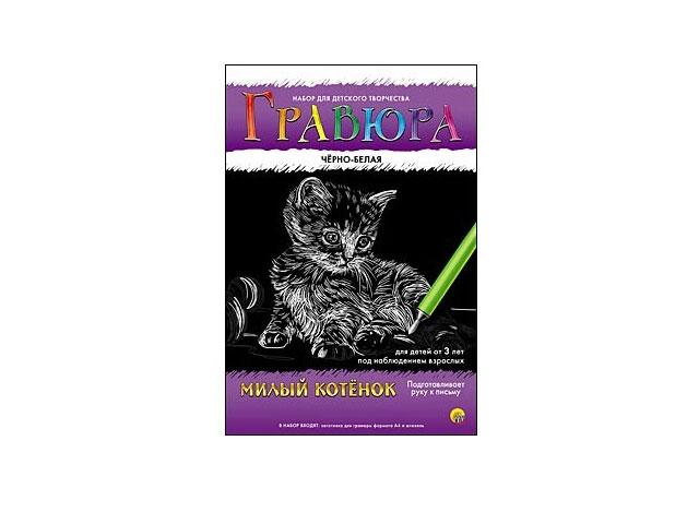 Гравюра А4, Милый котенок, эффект черно-белый, в конверте, Рыжий кот
