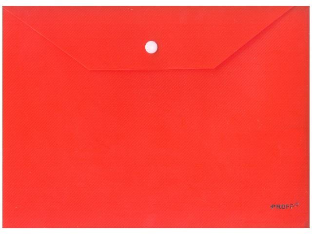 Папка конверт на кнопке, А4, красная, Proff Next
