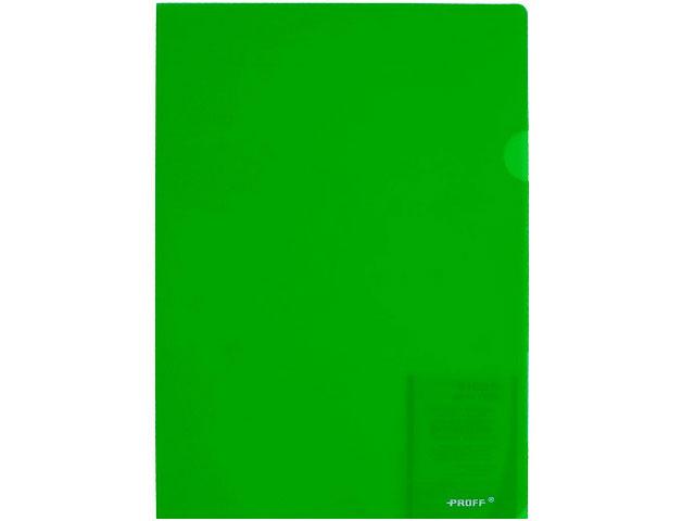 Уголок А4, 200мкм., прозрачный, глянцевый, зеленый, Alpha Proff