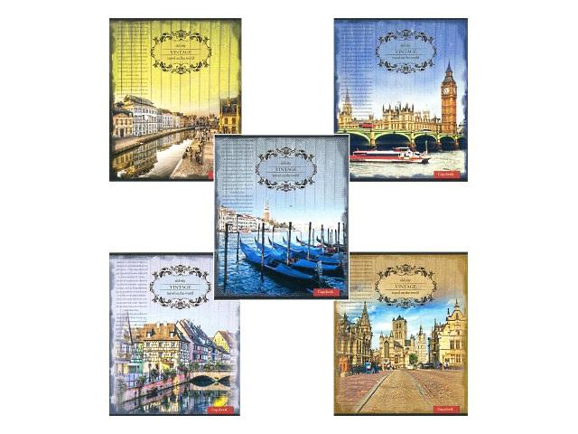 Тетрадь в линию 48 листов Города в стиле винтаж, Prof Press 48-2553