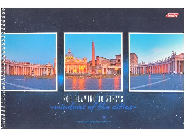 Альбом 40 листов, А4 спираль сбоку, плотность бумаги 100 г/м, с перфорацией, Windows of the cities, Hatber