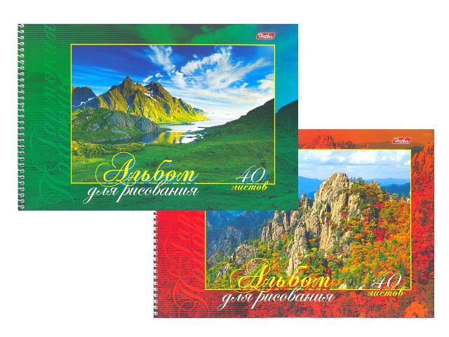 Альбом 40 листов, А4 спираль сбоку, с перфорацией, Гармония природы, Hatber