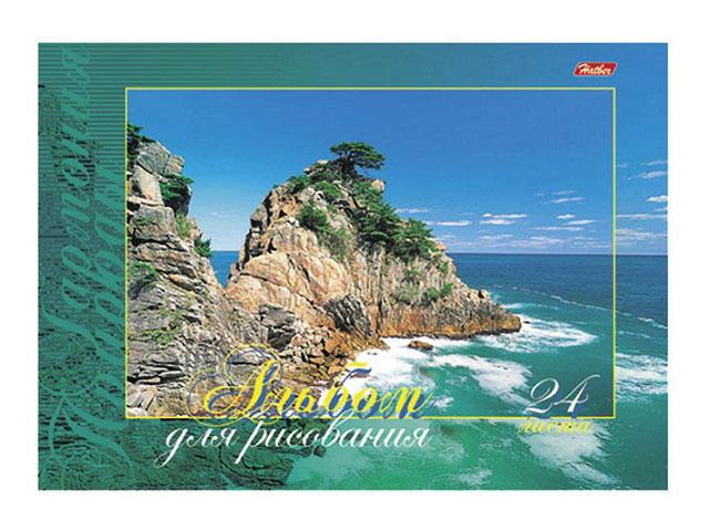 Альбом 24 листа, А4 клееный, плотность бумаги 120 г/м, Гармония природы, Hatber
