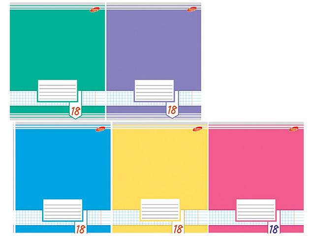 Тетрадь в клетку 18 листов Цветные фоны, Академия Групп EAC-7115/5