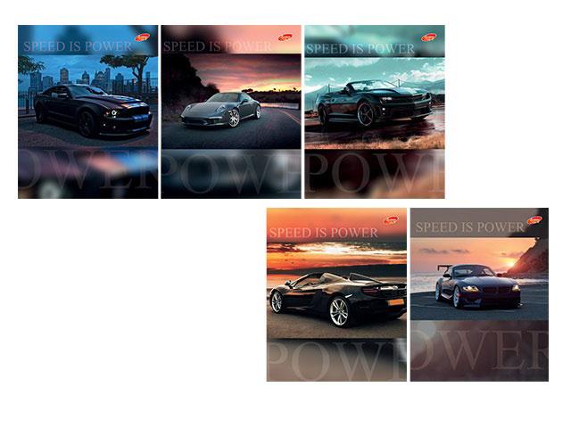 Тетрадь в клетку 48 листов Speed is Power, лакированная обложка, Академия Групп ЕАС-7840/5