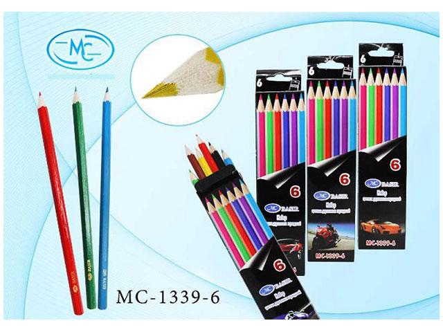 Карандаши цветные 6 цветов Машины, шестигранные, Basir МС-1339-6