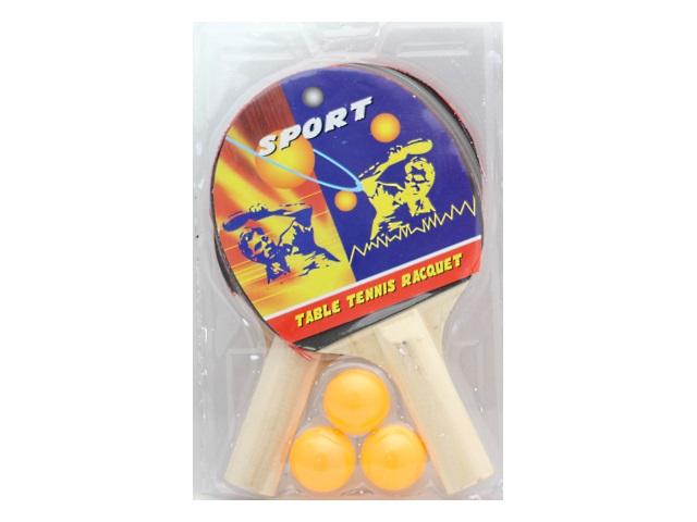 Теннисный набор, 5 предметов (ракетка - 2 шт., мячик - 3 шт.), деревянный, для настольного тенниса, Sport, блистер, Qinzhengyuan
