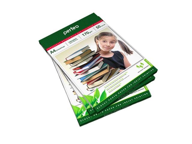 Фотобумага А4 глянцевая 170 г/м2, в упаковке 50 листов для струйной печати, Perfeo PF-GLA4-170