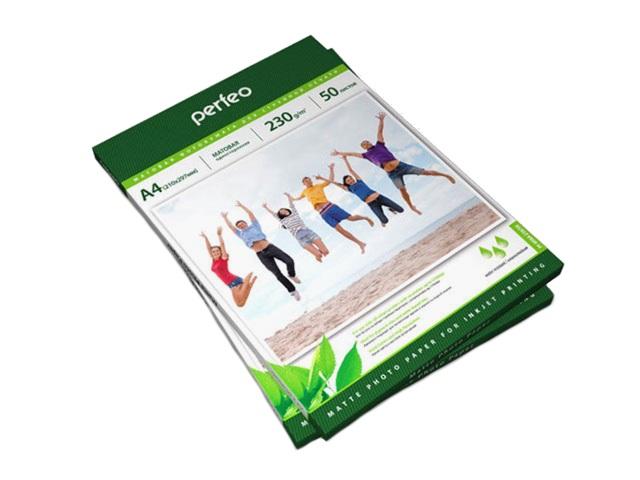 Фотобумага А4 матовая 230 г/м2, в упаковке 50 листов для струйной печати, Perfeo PF-MTA4-230