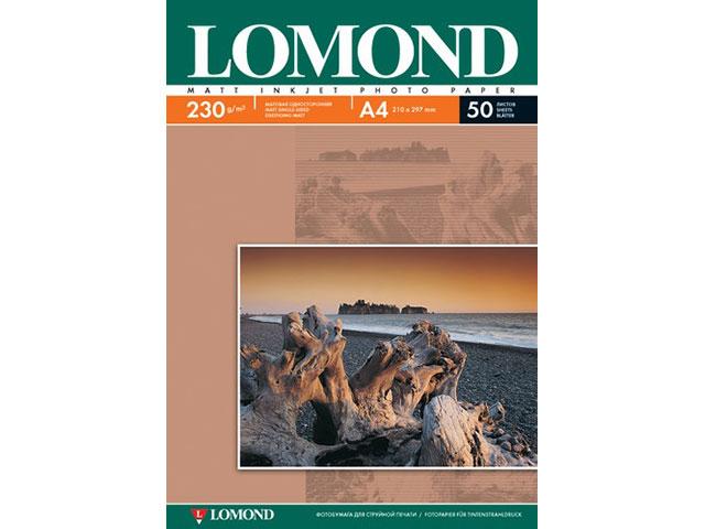 Фотобумага А4 матовая 230 г/м2, в упаковке 50 листов для струйной печати, Lomond 0102016