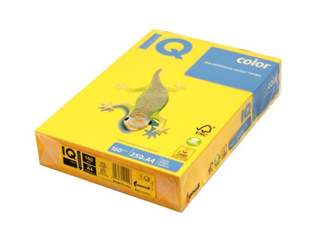 Бумага А4, 160 г/м., 250л., солнечно-желтая, IQ