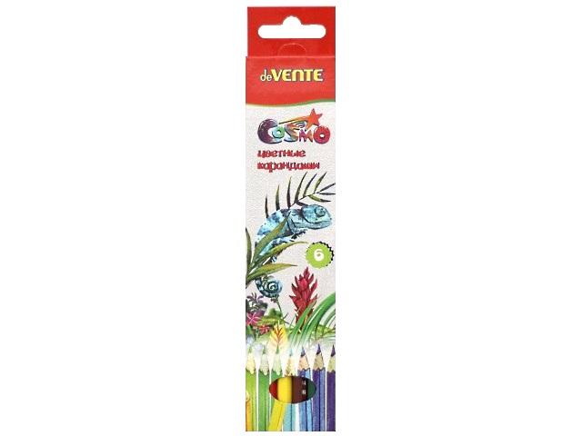 Карандаши цветные 6 цветов Cosmo, шестигранные, DeVente 5021303