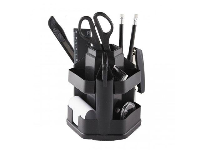 Канцелярский набор, 13 предметов, вращающийся, черный, Attomex