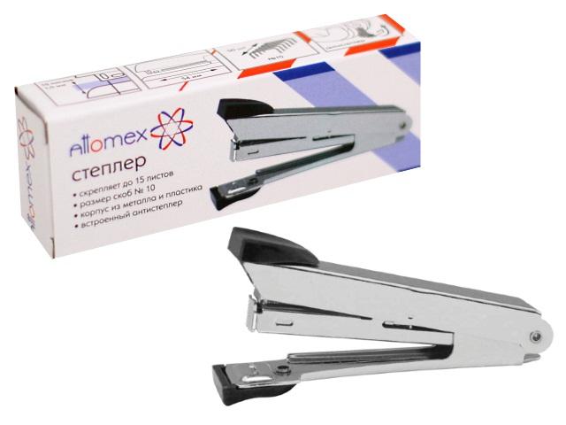 Степлер №10, 15л., металлический, черный, с антистеплером, Attomex