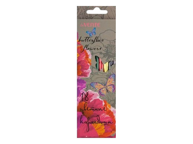 Карандаши цветные 18 цветов Бабочки-цветочки, шестигранные, DeVente 5023601