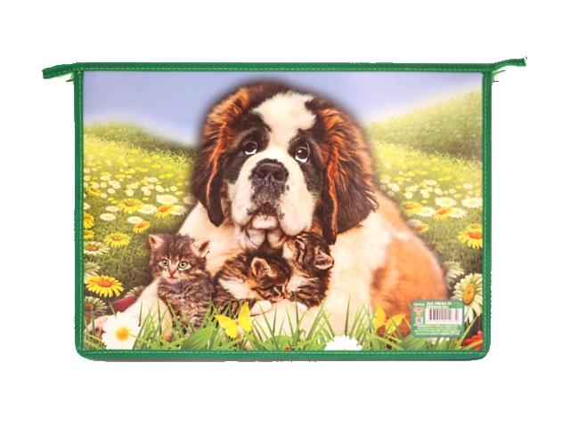 Папка для тетрадей на молнии А4 пластиковая Добрый пес, Пчелка ПМ-А4-29