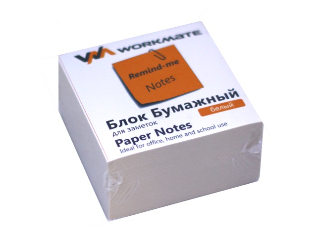 Бумага для заметок, белая, не склеенная, 90*90 мм, 500 листов, газетка, Workmate
