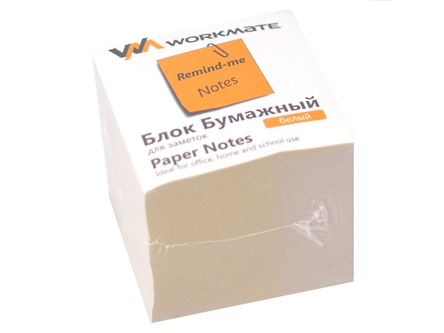 Бумага для заметок, белая, не склеенная, 90*90 мм, 900 листов, газетка, Workmate