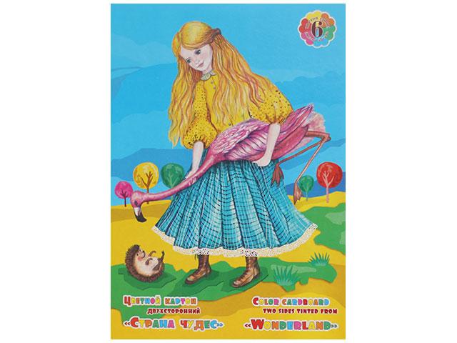Картон цветной А4 6 листов 6 цветов двухсторонний неоновый Страна чудес, Лилия Холдинг НК-9731