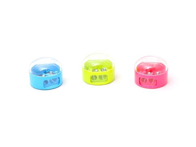 Точилка пластиковая, двойная, с контейнером, круглая, цвета ассорти, KUM