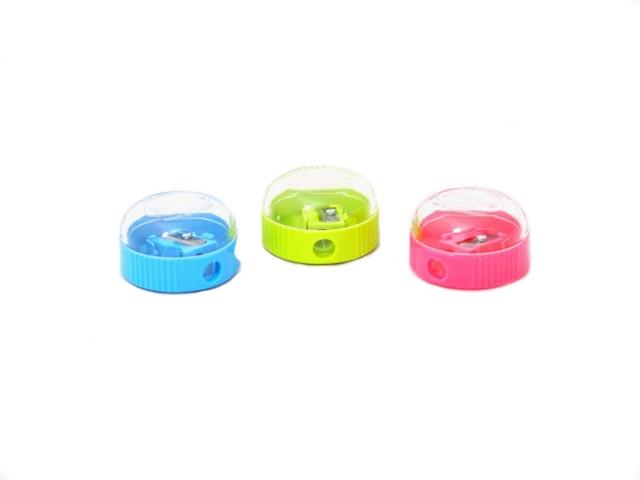 Точилка пластиковая, с контейнером, круглая, цвета ассорти, KUM