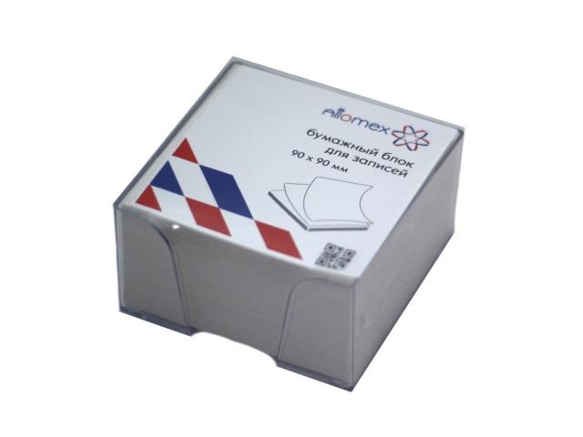 Бокс для бумаг 9*9*5 см, пластиковый, прозрачный, + бумага белая, не склееная, 500 листов, Attomex 2013404