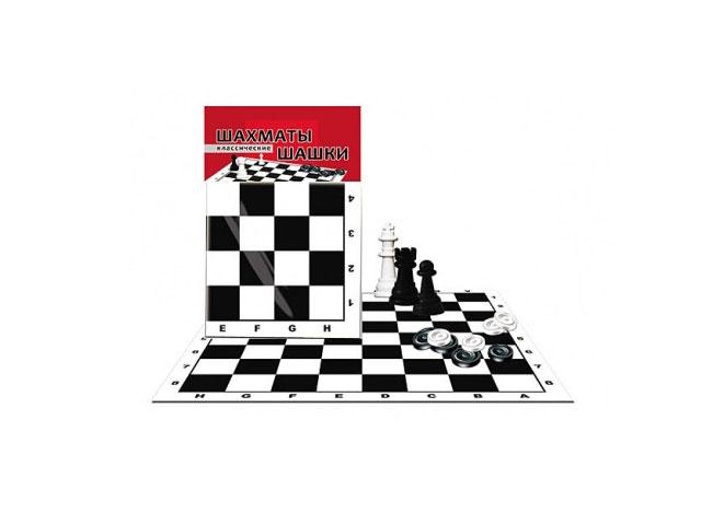 Шахматы Шашки 2 в 1 пластиковые + игровое поле в пакете, Рыжий кот ИН-0159