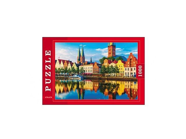 Пазлы 1000 деталей, Европейский город, в коробке, Рыжий кот