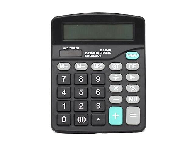 Калькулятор, 12-разрядный, черный, 14*18см., Kenko