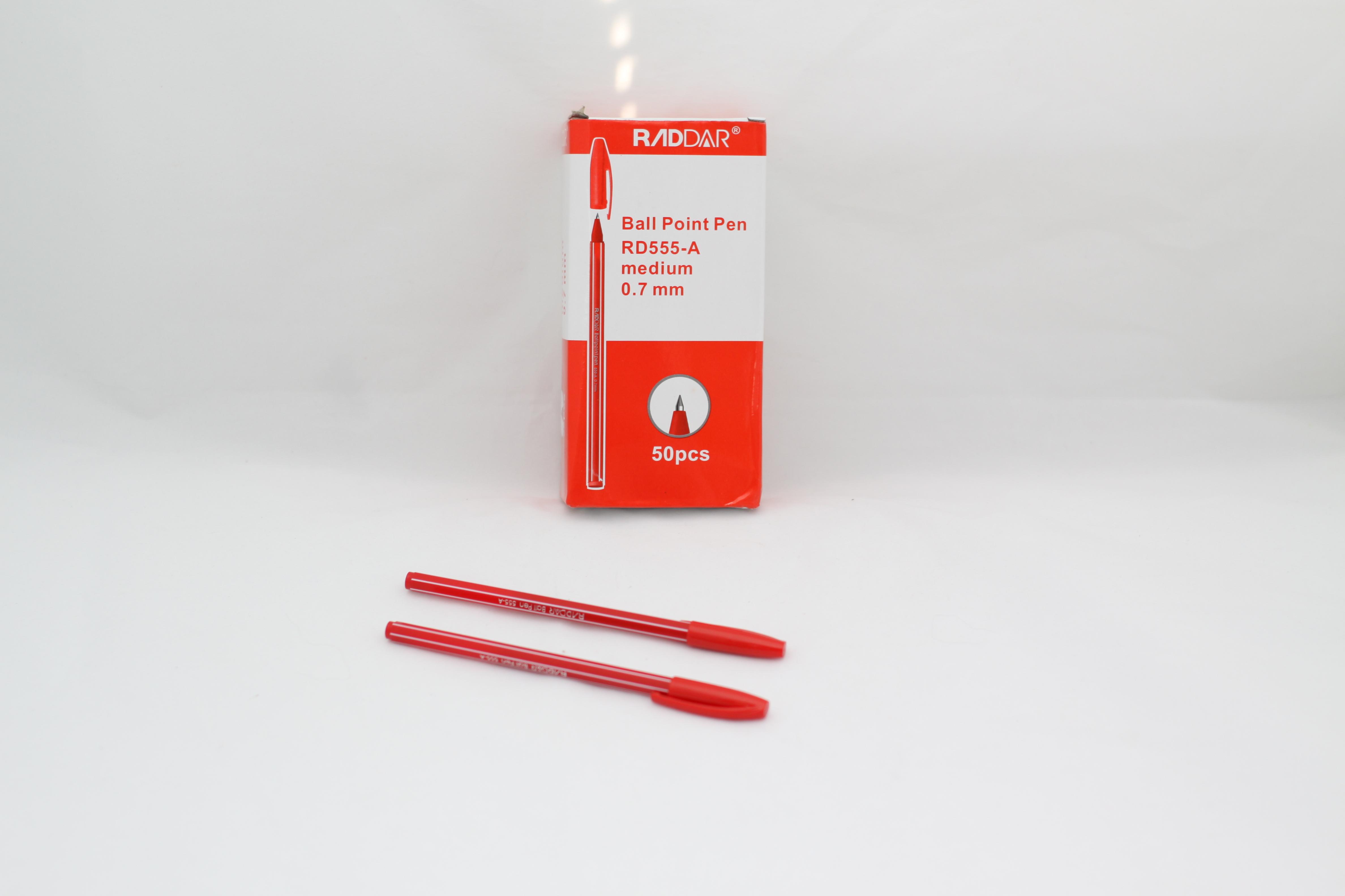 Ручка шариковая, красная 0.7 мм, Raddar 555