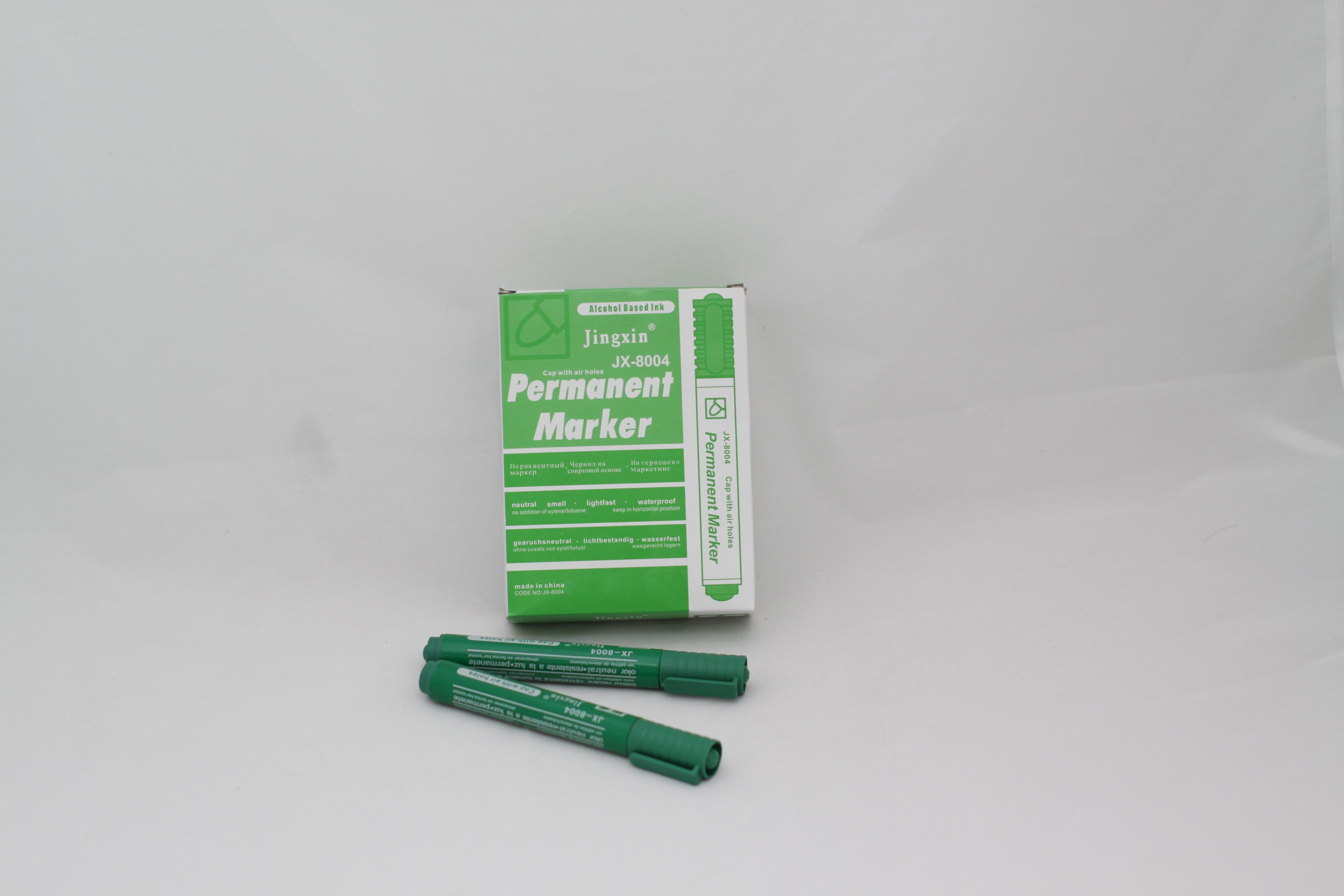 Маркер перманентный, зеленый, круглый, 2.5 мм, Jingxin