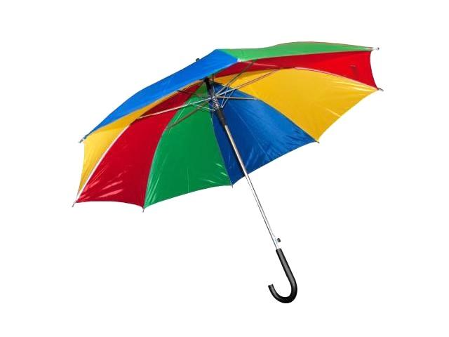 Зонт цветной, 65см., + свисток, в пакете