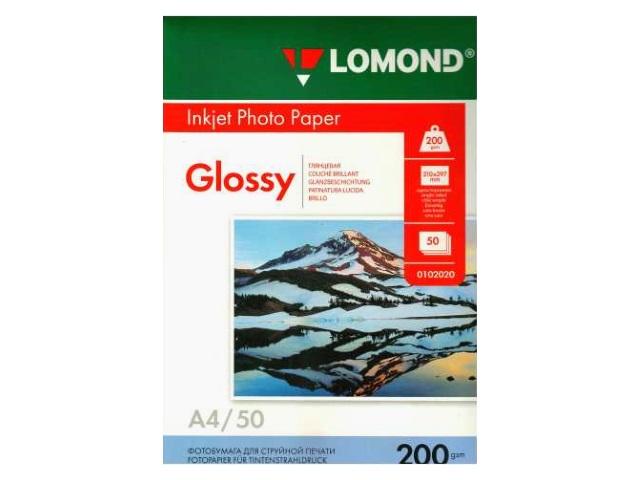 Фотобумага, А4, глянцевая, 200г/м2, 50л., для струйной печати, Lomond