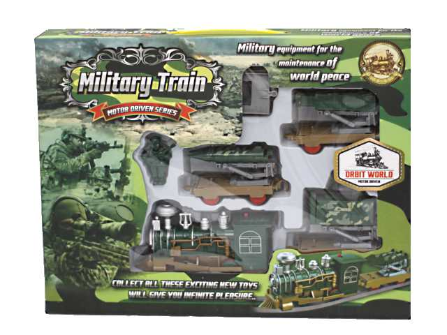 Железная дорога на батарейках, Военная, Military Train, в коробке, Tongde