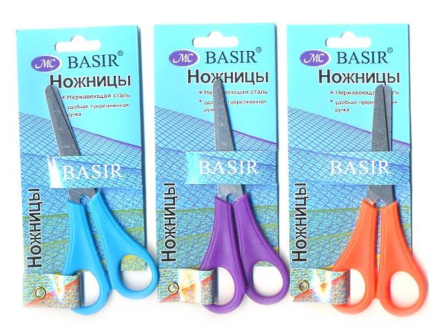 Ножницы 13см., детские, с пластиковыми ручками, с линейкой, блистер, Basir