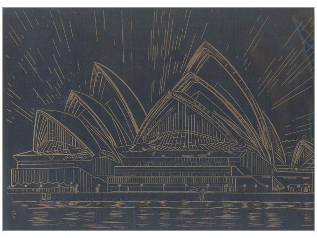 Гравюра А4, Сиднейский оперный театр, эффект золота, в пакете, Рыжий кот