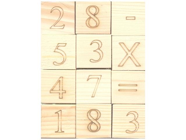 Кубики 12шт., деревянные, Цифры и знаки, в пакете, Рыжий кот
